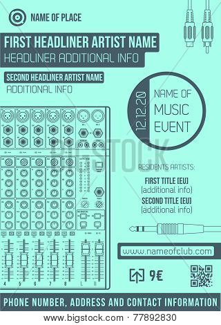 minimal design night party flyer template with big sound mixer
