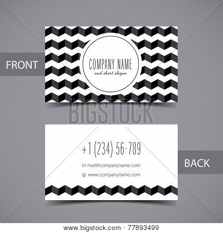 Business card front and back with abstract geometric background