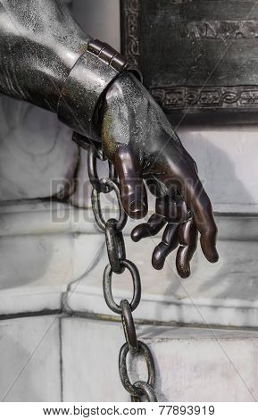 Hand of the statue of Friedrich Wilhelm near the castle Charlottenburg, Potsdam
