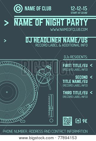 minimal design night party flyer template with vinyl turntable