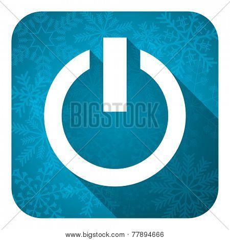 power flat icon, christmas button, on off sign