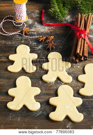 Gingerbread Man. Making Gingerbread Cookies.
