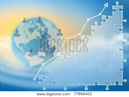 puzzles and arrow growth against backdrop globe with icons of people
