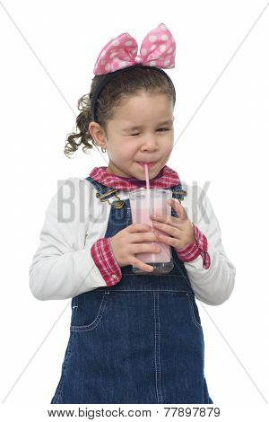 Winking Young Girl Drinking Milk Shake