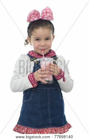 Happy Young Girl Drinking Milk Shake