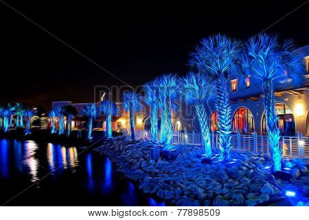 Palms Under Blue Light