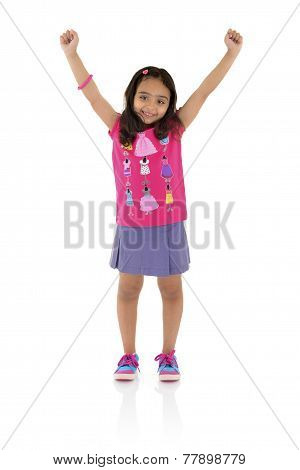 Happy Girl Raising Her Arms Up In The Air