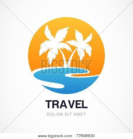 Vector Logo Design Template. Green Palm On Seaside. Concept For Travel Agency, Tropical Resort, Beac