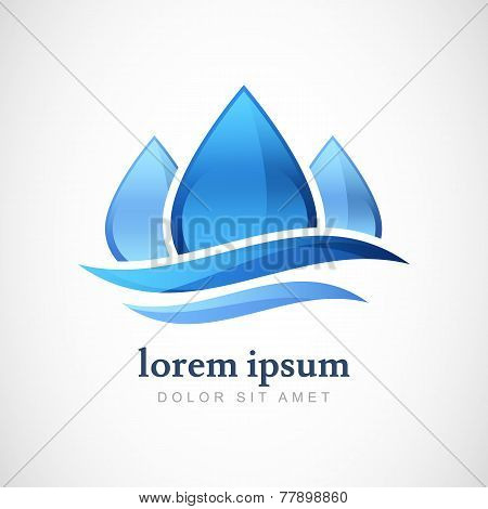Vector Logo Design Template. Abstract Blue Water Drop, Wave Shape. Business,  Technology, Nature, Ec