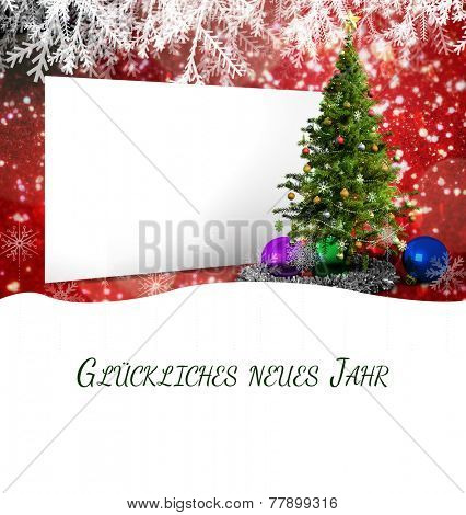 Christmas greeting in german against poster with christmas tree