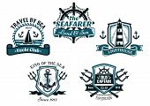 stock photo of old boat  - Nautical various heraldic emblem and symbols designs with travel by sea - JPG