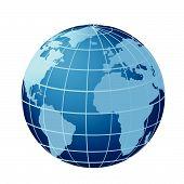 Globe showing Europe, Africa and Americas with Atlantic Ocean poster