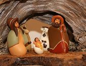 foto of nativity scene  - statues of the Nativity scene with Holy Family in South American style - JPG