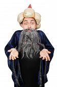 stock photo of merlin  - Funny wise wizard isolated on the white - JPG