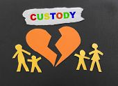 stock photo of divorce-papers  - Paper family with broken heart and Custody text - JPG