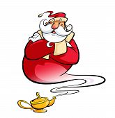 image of genie  - Happy smiling cartoon Santa Claus coming excited out of a magic oil lamp making a genie gesture as christmas spirit to hall wishes come true - JPG