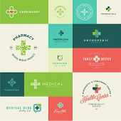 image of pharmaceutical company  - Set of vector icons on the theme of medicine and healthcare - JPG