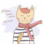 pic of french beret  - French parisian cat hand drawn vector illustration - JPG