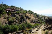 stock photo of ravines  - Village Barla and ravine in south Turkey - JPG