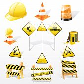 image of traffic sign  - Vector set of  under construction elements over white - JPG