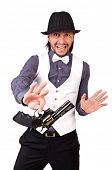 image of cap gun  - Man with gun isolated on the white - JPG