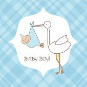 picture of stork  - Baby boy announcement arrival card - JPG