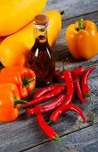 picture of marrow  - Vegetable marrows paprika and olive oil on a rural table  - JPG