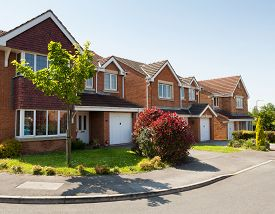 stock photo of suburban city  - English street - JPG