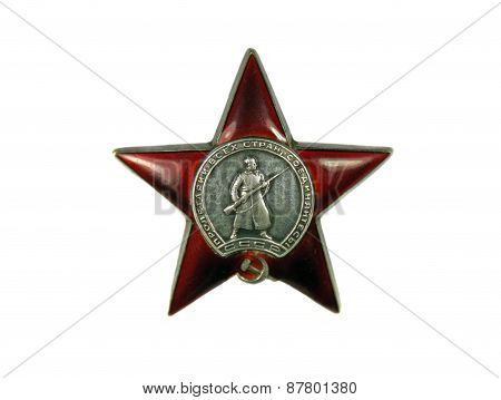 Order Of The Red Star On A White Background
