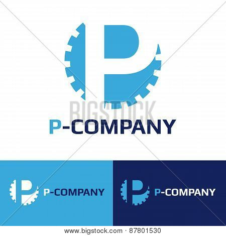 Vector minimalistic blue P letter cog logotype
