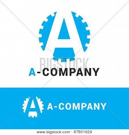 Vector minimalistic blue A letter logotype. Cogwheel logo