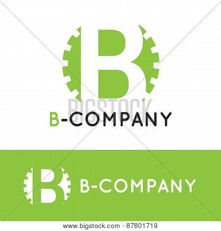Vector minimalistic green B letter logotype. Cogwheel logo