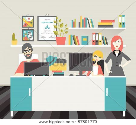Colleague Office Workplace. Flat Vector Illustration.