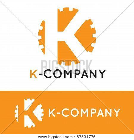 Vector minimalistic orange K letter logotype. Cogwheel logo
