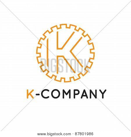 Vector minimalistic outline orange K letter logotype. Cogwheel logo