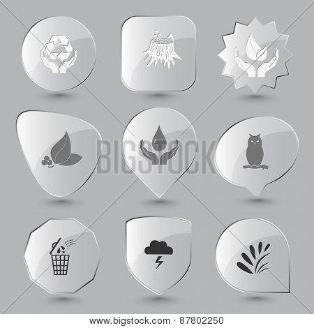 Nature set. Raster glass buttons.