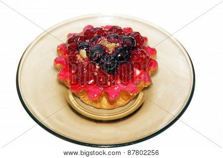 Cake Basket With Berries And Cream Pink