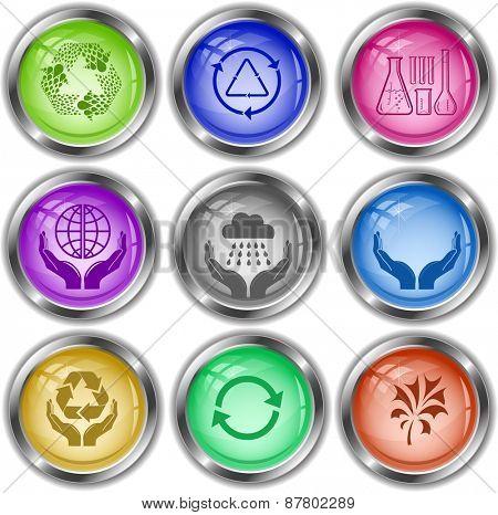 Ecology set. Raster internet buttons.