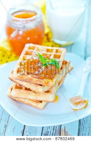 Waffles With Apricot Jam