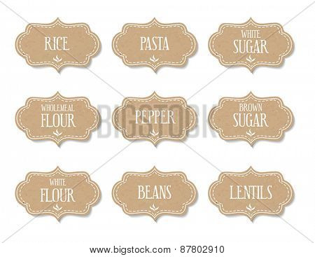 Cardboard food labels or stickers. Can be used to mark kitchen food containers.
