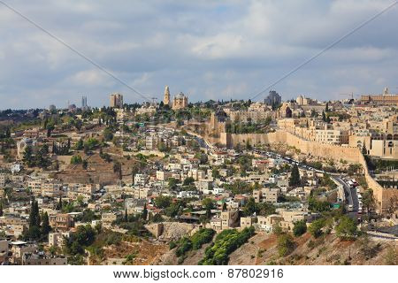 Ancient holy Jerusalem from the Mount of Olives