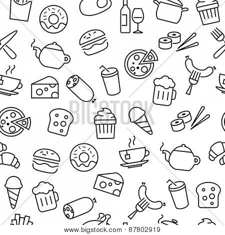 Seamless pattern with thin lines icons related to food, cooking and kitchen equipment
