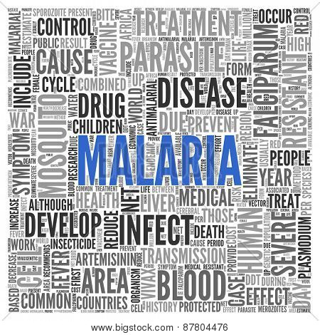 Close up Blue MALARIA Text at the Center of Word Tag Cloud on White Background.