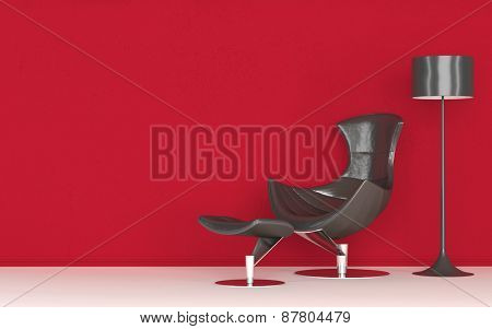 Modern stylish recliner chair standing against a vivid red wall below a freestanding standard lamp, copyspace on the wall. 3d Rendering.