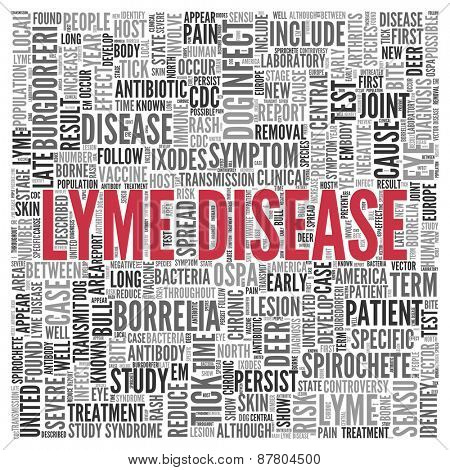 Close up Red LYME DISEASE Text at the Center of Word Tag Cloud on White Background.
