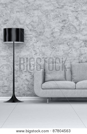 Standing Black Lampshade and a Gray Sofa Inside an Architectural Living Room with Abstract Design on the Wall. 3d Rendering.