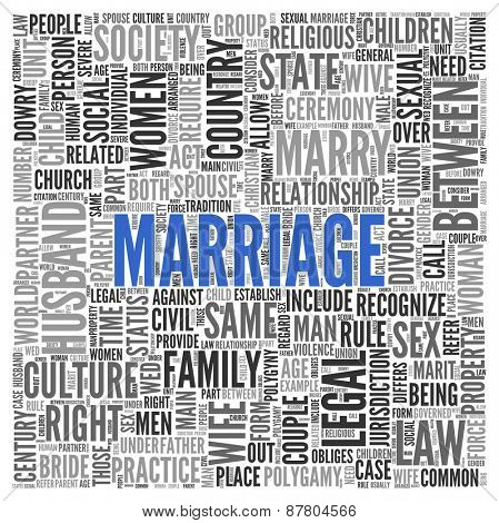 Close up Blue MARRIAGE Text at the Center of Word Tag Cloud on White Background.
