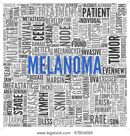 Close up Blue MELANOMA Text at the Center of Word Tag Cloud on White Background.