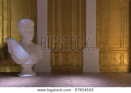 Luxury vintage interior with a large white marble bust standing on a wooden herringbone parquet floor in front of two white columns in a gold paneled wall. 3d Rendering.