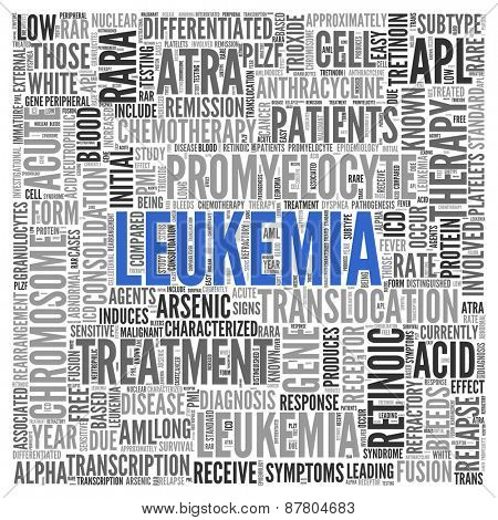 Close up Blue LEUKEMIA Text at the Center of Word Tag Cloud on White Background.
